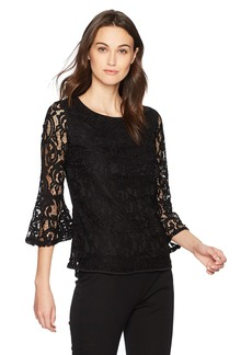Adrianna Papell Women's Lace Top with Small Bell Sleeve