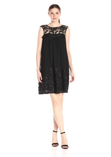 Adrianna Papell Women's Lace Yoke Soft Dress with Shirring