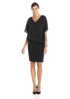 Adrianna Papell Women's Layered Chiffon Capelet Banded Matte Jersey Dress