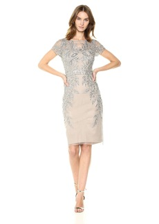 Adrianna Papell Women's Leafy Beaded Short Sleeve Sheath Dress