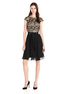 Adrianna Papell Women's Leather Cut Away Pleated Fit N Flare Dress