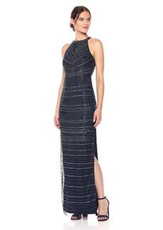 Adrianna Papell Women's Long Beade Halter Neck Gown