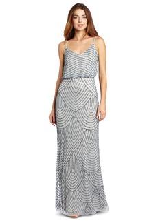Adrianna Papell Women's Long Beaded Blouson Gown