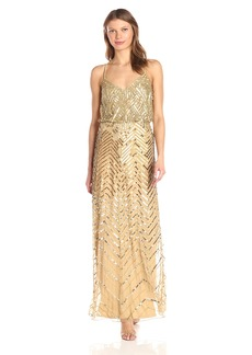 Adrianna Papell Women's Long Beaded Blouson Gown with Spaghetti Straps