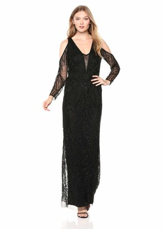 Adrianna Papell Women's Long Beaded Cold Shoulder Column Dress