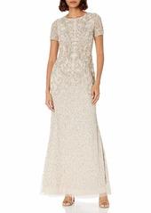 Adrianna Papell Women's Long Beaded Dress BISCOTTI
