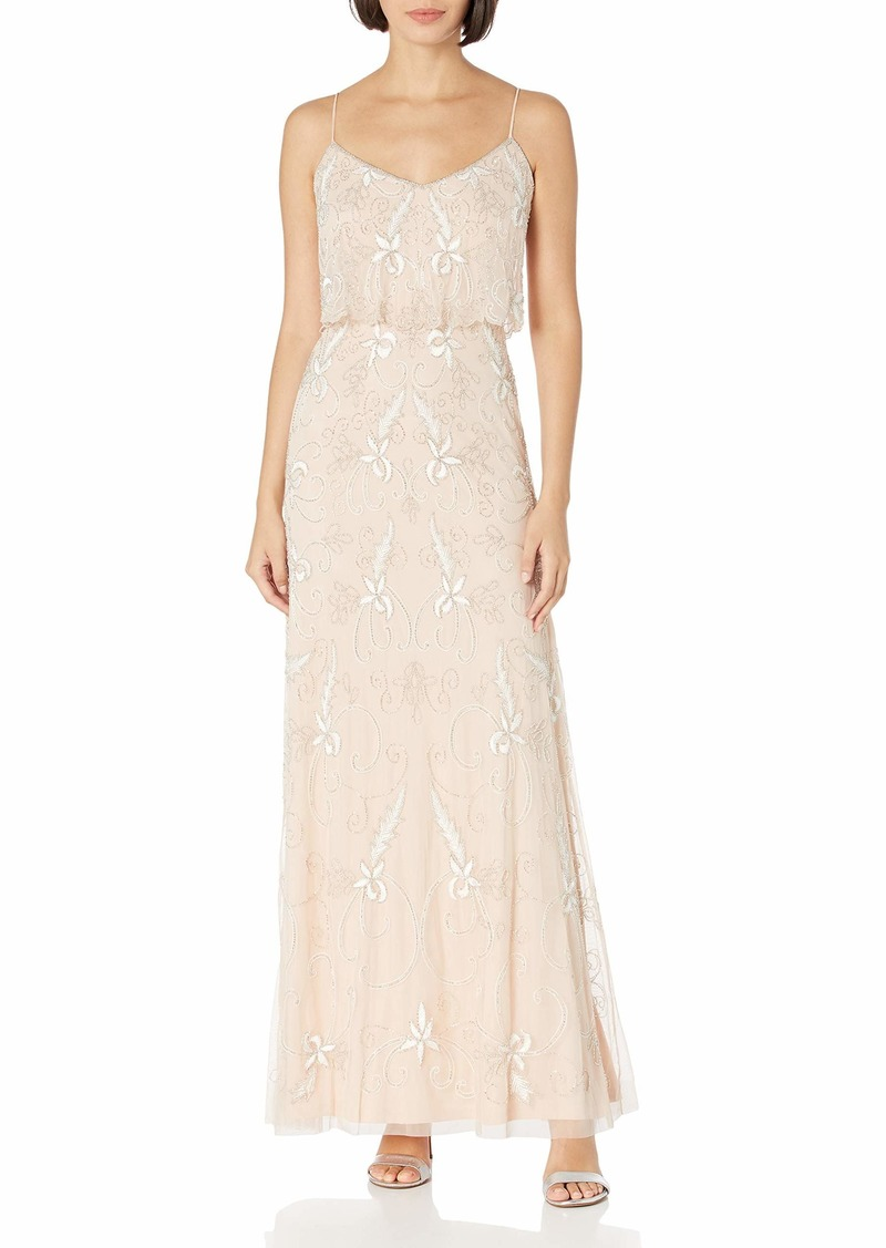 Adrianna Papell Women's Long Beaded Dress CHAMPAGNE SAND