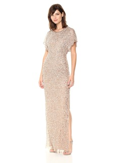Adrianna Papell Women's Long Beaded Dress Flutter Slv