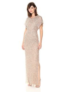 Adrianna Papell Women's Long Beaded Dress Flutter SLV