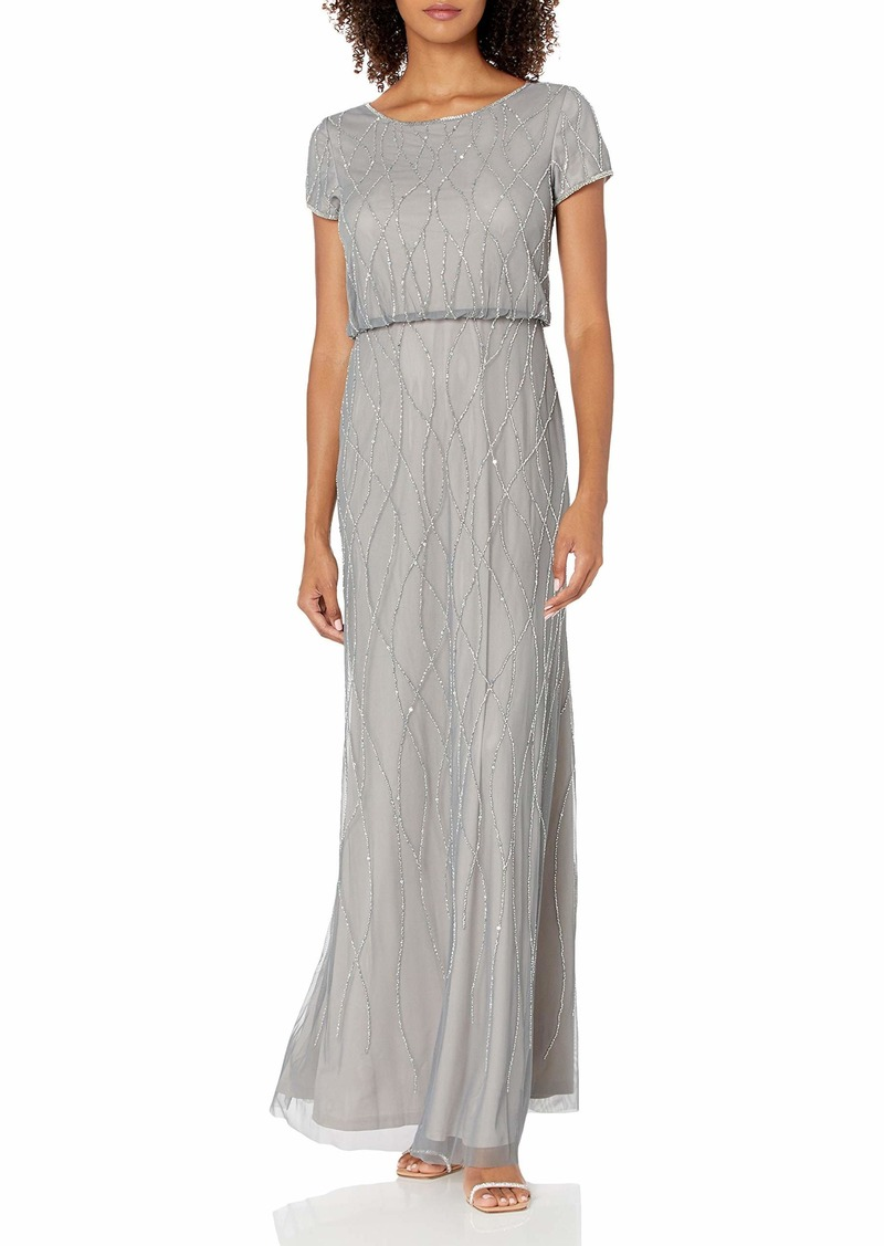 Adrianna Papell Women's Long Beaded Dress PEWTER/SILVER