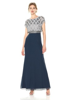 Adrianna Papell Women's Long Beaded Dress with Cap Top