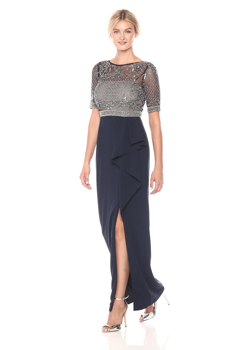 Adrianna Papell Women's Long Beaded Embellished Gown with Cascade Ruffle Skirt