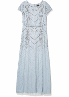 Adrianna Papell Women's LONG BEADED GOWN GLACIER