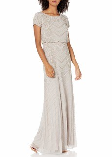 Adrianna Papell Women's Long Beaded Gown MARBLE