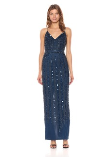 Adrianna Papell Women's Long Beaded Slip Dress deep Blue