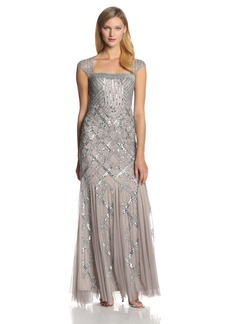 Adrianna Papell Women's Long Beaded Square Neck Dress With Cap Sleeves