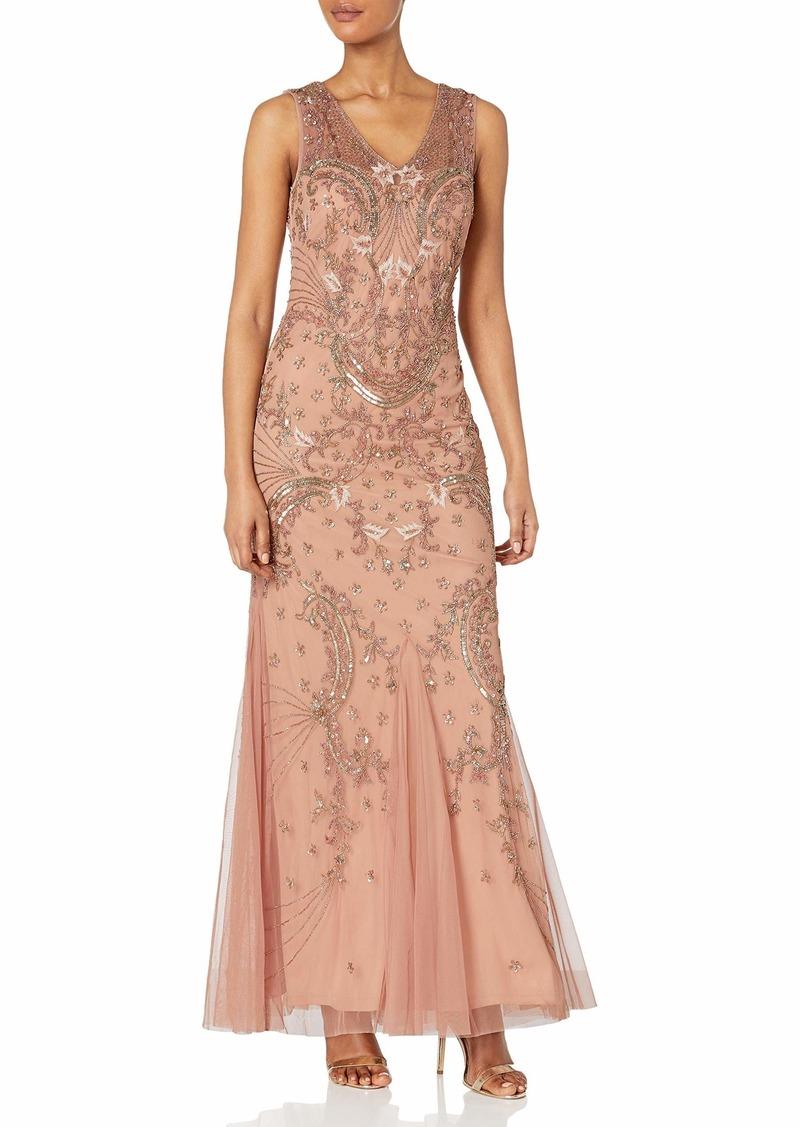 Adrianna Papell Women's Long Beaded V Neck Dress Gown
