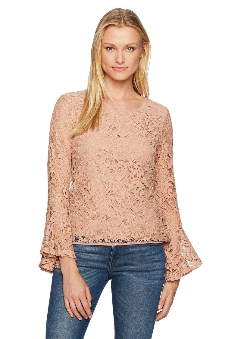 760604913d813b Adrianna Papell Adrianna Papell Women's Long Bell Sleeve Lace Blouse ...