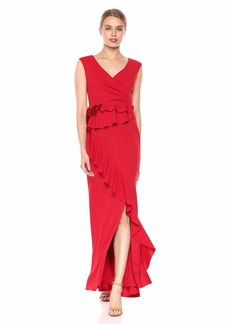 Adrianna Papell Women's Long Draped Crepe Dress