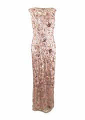 Adrianna Papell Women's Long Floral Cap Sleeve Sequin Dress