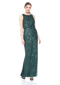 Adrianna Papell Women's Long Fully Beaded Dress with Blouson Top