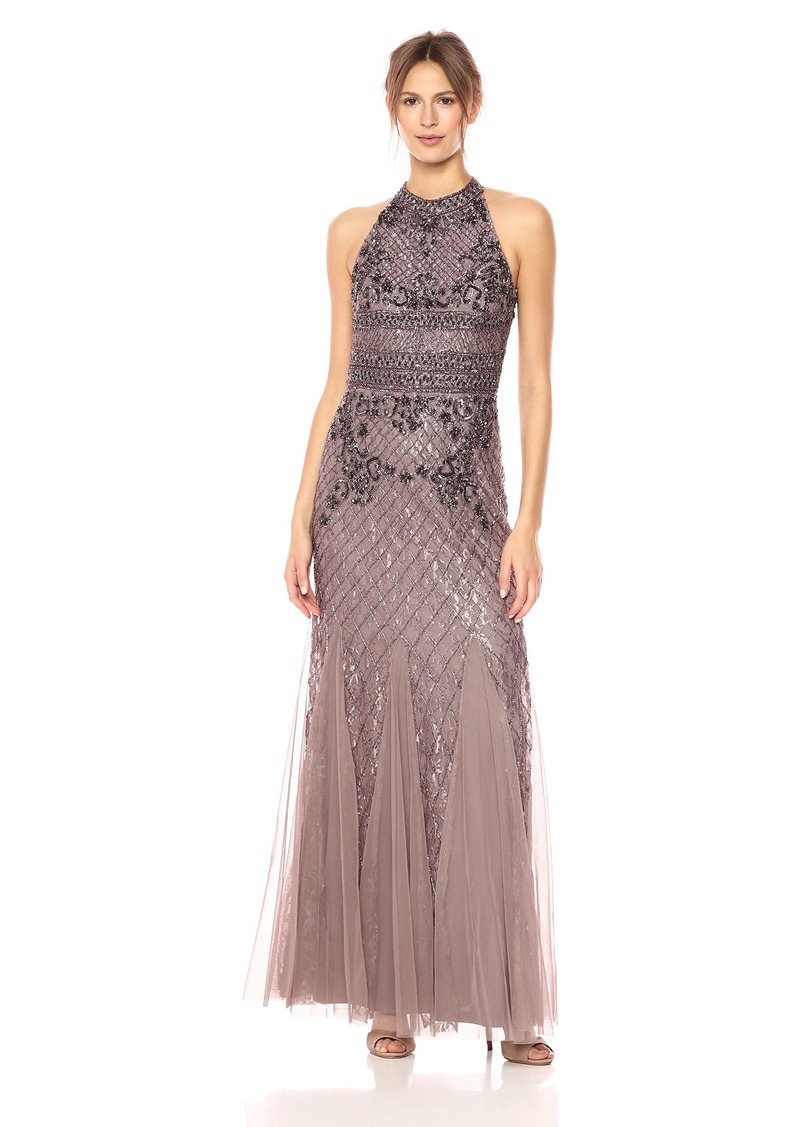 Adrianna Papell Women's Long Fully Beaded Halter Gown