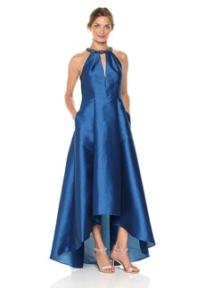 Adrianna Papell Women's Long Irredescent Halter Gown with Hi Lo Skirt