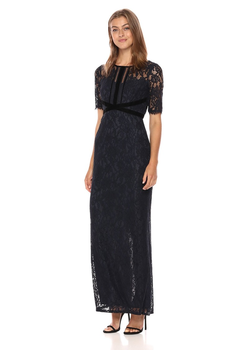 Adrianna Papell Women's Long Lace Dress with Velvet Trim