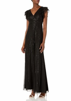 Adrianna Papell Women's Long Sequin Flutter Sleeve Dress with Pleated Detail