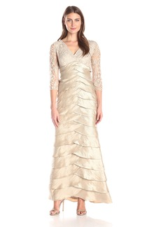 Adrianna Papell Women's Long Shutter Shimmer Dress With Lace Bodice