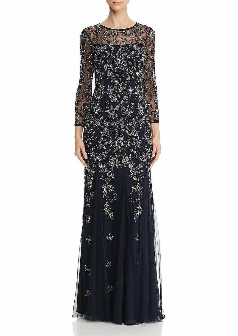Adrianna Papell Women's Long Sleeve Bead Dress