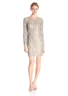 Adrianna Papell Women's Long Sleeve Beaded Cocktail Dress