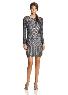 Adrianna Papell Women's Long Sleeve Beaded Cocktail Dress with Diamond Beading