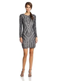 Adrianna Papell Women's Long Sleeve Beaded Cocktail Dress with Diamond Beading