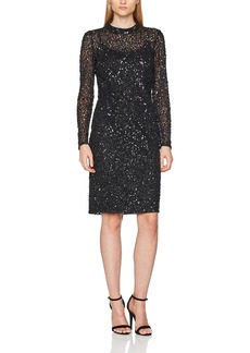 Adrianna Papell Women's Long Sleeve Fully Beaded Short Cocktail Dress
