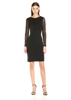 Adrianna Papell Women's Long Sleeve Lace Detail Fit Dress