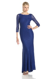 Adrianna Papell Women's Long Sleeve Lace Gown