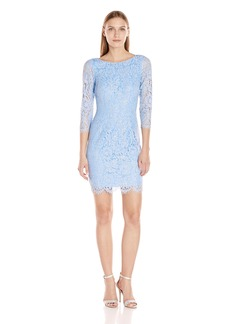 Adrianna Papell Women's Long Sleeve Metallic Lace Sheath Cocktail Dress