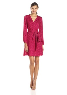Adrianna Papell Women's Long Sleeve Printed Wrap Dress