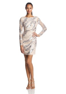 Adrianna Papell Women's Long Sleeve Short Beaded Cocktail Dress with Round Neck and V Back