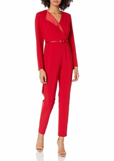 Adrianna Papell Women's Long Sleeve Tapered Jumpsuit with Belted Waist