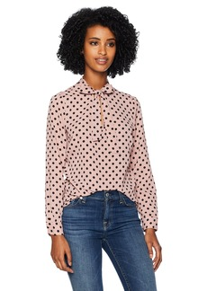 Adrianna Papell Women's Long Sleeve TIE Neck Blouse Blush/Black Medium dot Extra Large