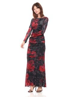 Adrianna Papell Women's Long Sleeve Velvet Burnout Floral Gown