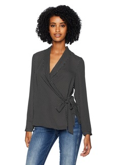 Adrianna Papell Women's Long Sleeve WRAP Front Georgette Blouse Black/Ivory Small dot
