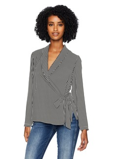 Adrianna Papell Women's Long Sleeve Wrap Front Georgette Blouse Black/Ivory  Stripe