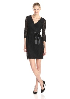 Adrianna Papell Women's Long Sleeve Wrap Front Lace Cocktail