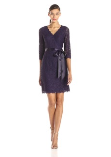 Adrianna Papell Women's Long Sleeve Wrap Front Lace Cocktail Dress