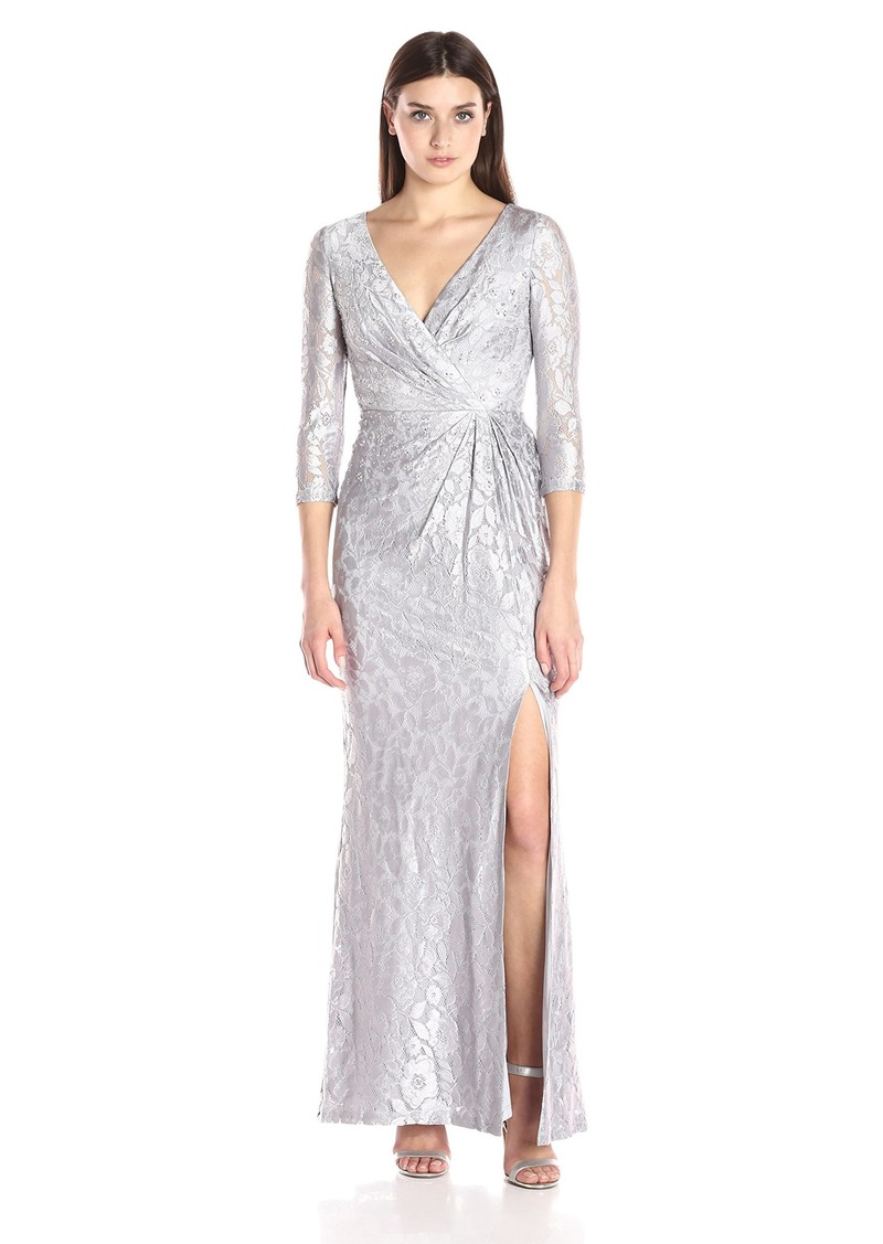 SALE! Adrianna Papell Adrianna Papell Women\'s Long Sleeve Wrap Lace Gown
