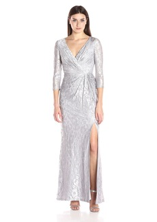 Adrianna Papell Women's Long Sleeve Wrap Lace Gown