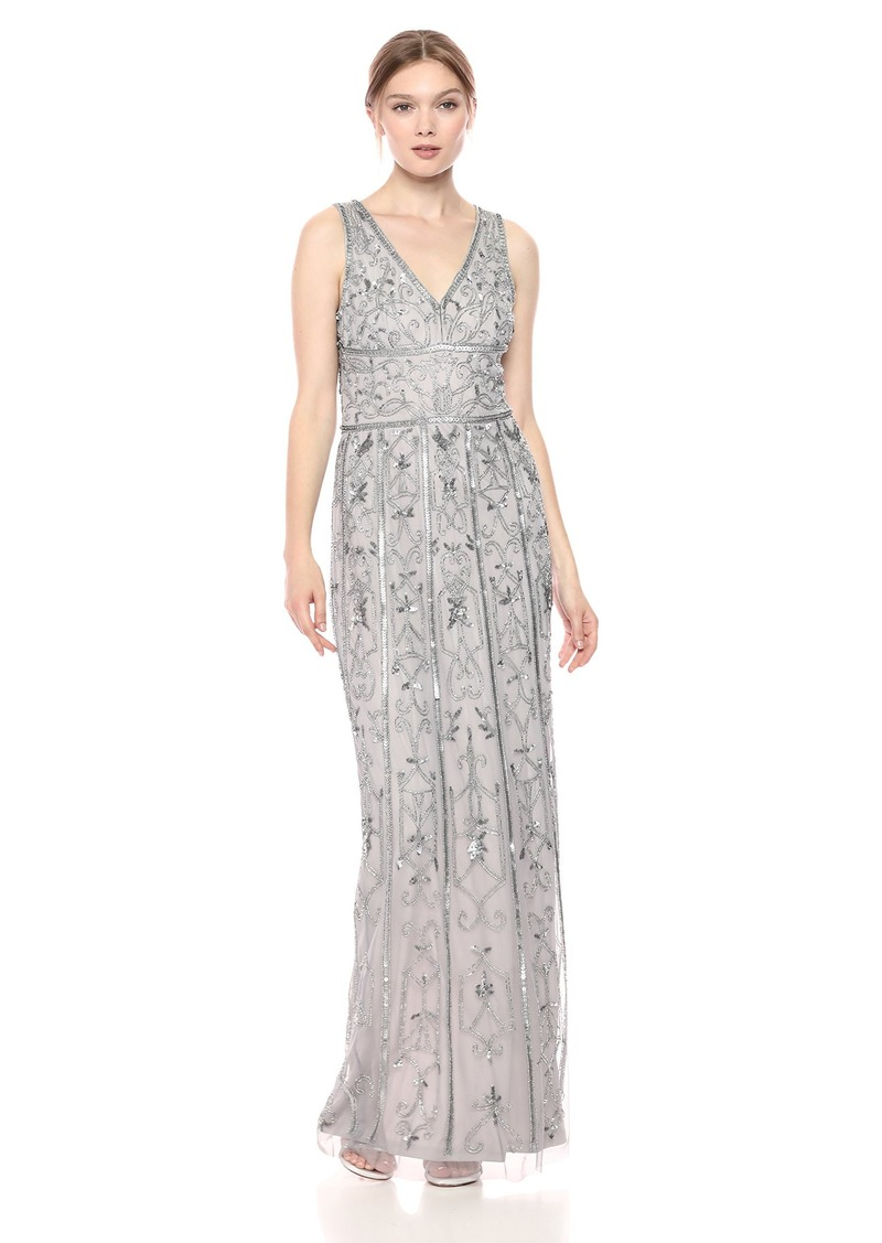 Adrianna Papell Women's Long Sleeveless Dress with Vintage Beading